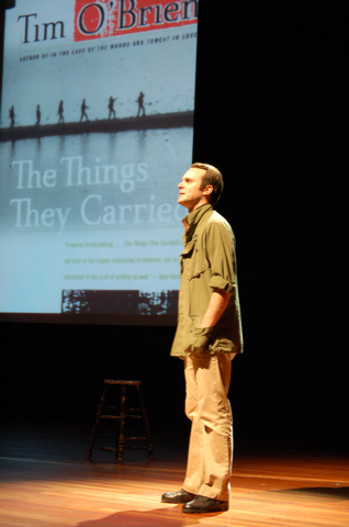 """Billy Lyons performs stories from Tim O'Brien's Vietnam War book """"The Things They Carried"""" during a free """"Literature to Life"""" stage presentation Saturday at the Historic Fifth Street S ..."""