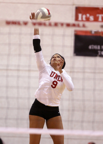 UNLV's Bree Hammel serves in the second set of a volleyball game against Fresno State at Cox Pavilion in Las Vegas Thursday, Sept. 25, 2014. UNLV went on to beat Fresno State 3-0. (K.M. Cannon/Las ...