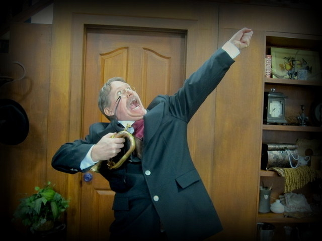 """In """"Arsenic and Old Lace,"""" delusional Teddy Brewster (Jeff Tribbitt) thinks he's really another Teddy -- Roosevelt.  (Courtesy photo)"""