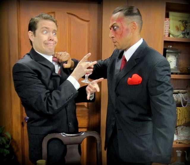 "Drama critic Mortimer Brewster (Cory Benway) faces off against brutish Jonathan Brewster (Alex Pink) in Super Summer Theatre's ""Arsenic and Old Lace,"" which opens Thursday at Spring Mountain Ranch ..."