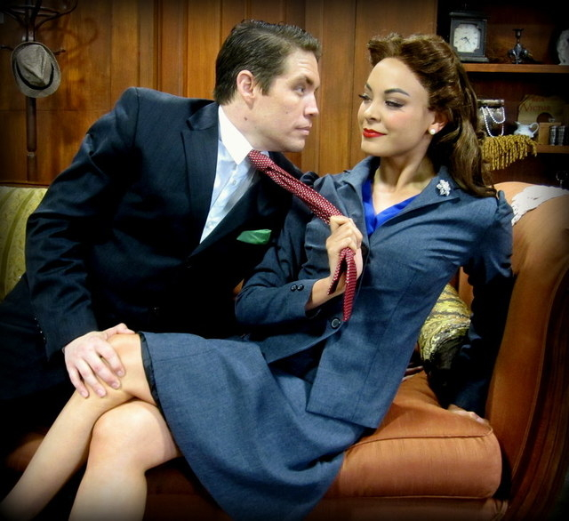 """In """"Arsenic and Old Lace,"""" drama critic Mortimer Brewster (Cory Benway) ponders marriage to his sweetheart Elaine Harper (Tala Marie). (Courtesy photo)"""