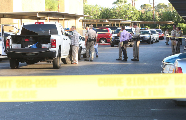 Las Vegas police are investigating a fatal shooting on Thursday, Sept. 18, 2014, at Andiamo Apartments in the 4600 block of Vegas Drive, near Decatur Boulevard. Police said one man is dead and whi ...