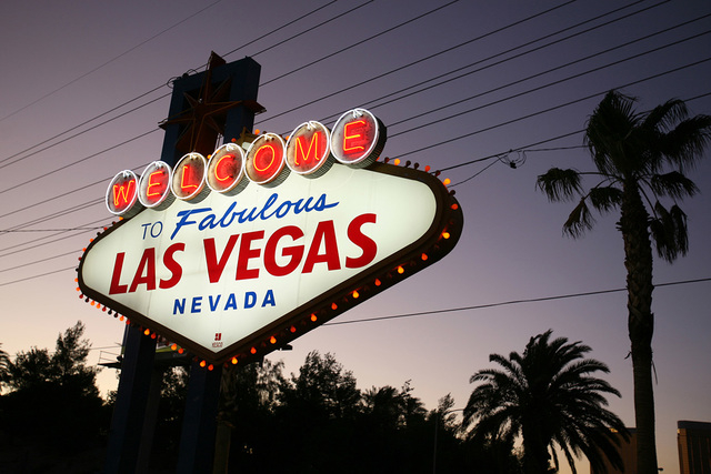 The Welcome to Las Vegas sign on the south end of Las Vegas Boulevard on Tuesday, Aug. 9, 2011. (Jeff Scheid/Las Vegas Review-Journal)