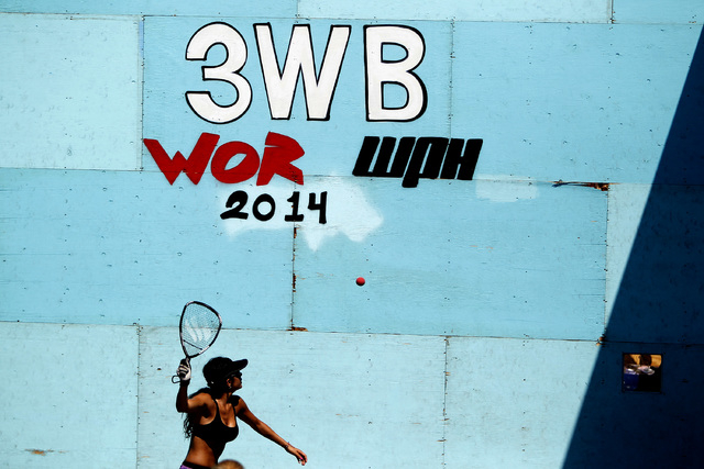 Jessica Parilla serves the ball during the women's open 3 wall racquetball championships at the 3 Wallball World Chamopionship across from the Stratosphere in Las Vegas on Sunday, Sept. 14, 2014.  ...