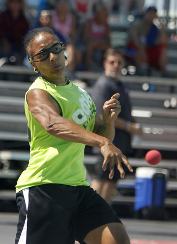 Tanisha Groomes, of Buena Park, Calif.,  hits the ball during her 3 wall handball championship match at the 3 Wallball World Championship across from the Stratosphere in Las Vegas on Sunday, Sept. ...