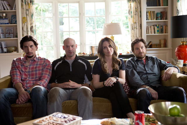 """From left, Adam Driver, Corey Stoll, Tina Fey and Jason Bateman in the Warner Bros. comedy, """"This is Where I Leave You."""" (Courtesy, Jessica Miglio/Warner Bros. Pictures)"""