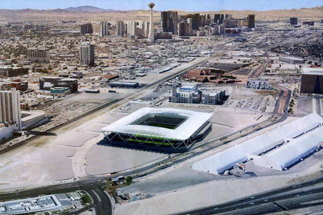 Artist's rendering of a state-of-the-art stadium designed specifically for Major League Soccer. The city of Las Vegas is staging six town hall meetings about the proposed $200 million publicly sub ...