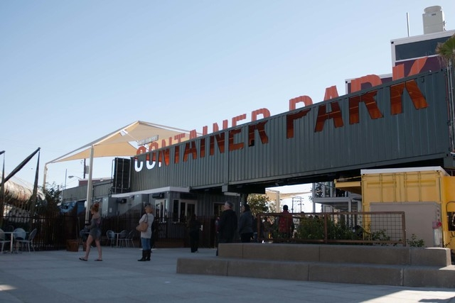 The Container Park in downtown Las Vegas is seen during its opening on Monday, Nov. 25, 2013. (Erik Verduzco/Las Vegas Review-Journal)