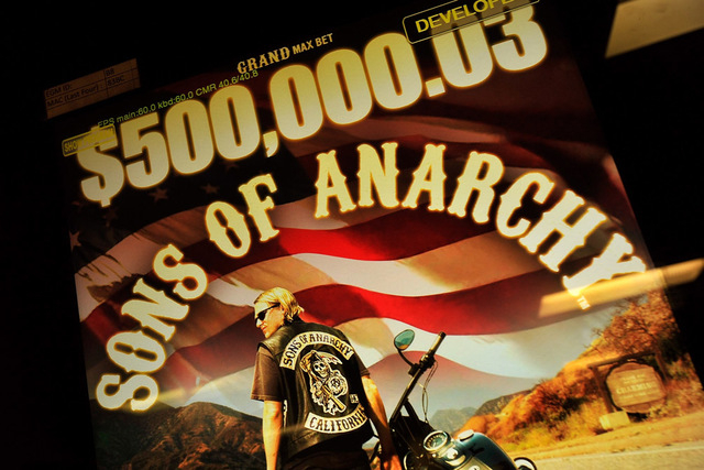 """A screen shot is seen of Aristocrat's upcoming slot machine, """"Son of Anarchy"""" at its Las Vegas office on Tuesday, Sept. 23, 2014. (David Becker/Las Vegas Review-Journal)"""