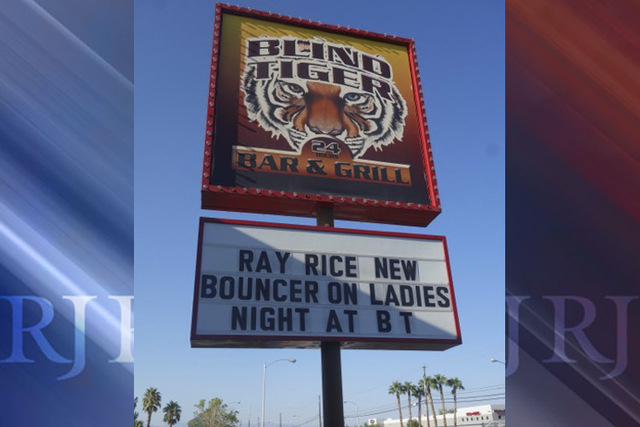 The Blind Tiger has unveiled this sign in the wake of the recent Ray Rice video. (Norm Clarke/Las Vegas Review-Journal)