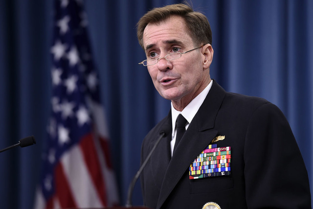 In this Sept. 2, 2014, file photo, Pentagon press secretary Navy Rear Adm. John Kirby speaks during a briefing at the Pentagon. The Pentagon on Monday night, Sept. 22, says the U.S. and partner na ...