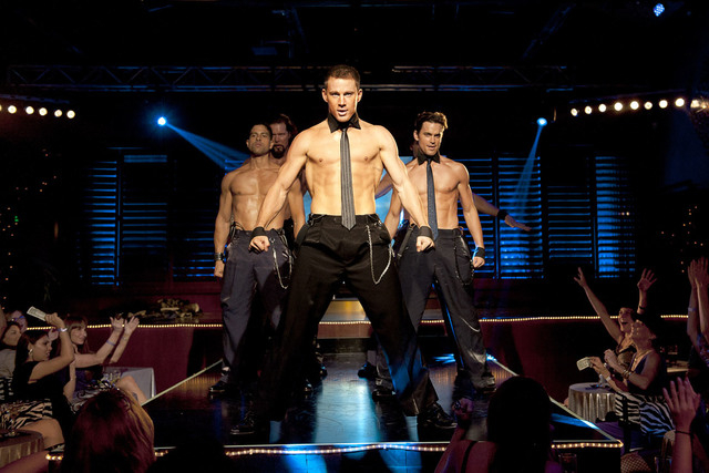 """From left, Adam Rodriguez, Kevin Nash, Channing Tatum, and Matt Bomer in a scene from """"Magic Mike."""" (AP Photo/Warner Bros., Claudette Barius)"""