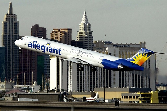 An Allegiant Air jet takes off from McCarran International Airport in Las Vegas. The Airline Professionals Association Teamsters Local 1224, which represents Allegiant Air pilots, says pilots are  ...