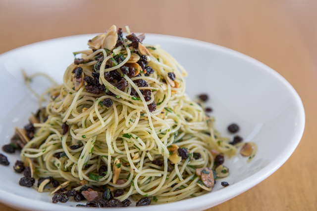 Angel-hair pasta with anchovy, almonds and currants at The Perch in the Downtown Container Park. (Courtesy)