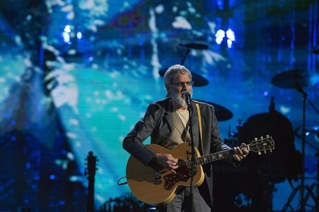 British singer-songwriter Yusuf Islam, commonly known by his former stage name Cat Stevens, performs after he was inducted during 29th annual Rock and Roll Hall of Fame Induction Ceremony at the B ...