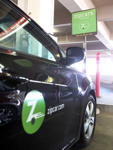 Zipcar vehicle is parked at AVIS car rental lot at McCarran International Airport, on Thursday, Sept. 4, 2014, in Las Vegas. (Bizu Tesfaye/Las Vegas Review-Journal)