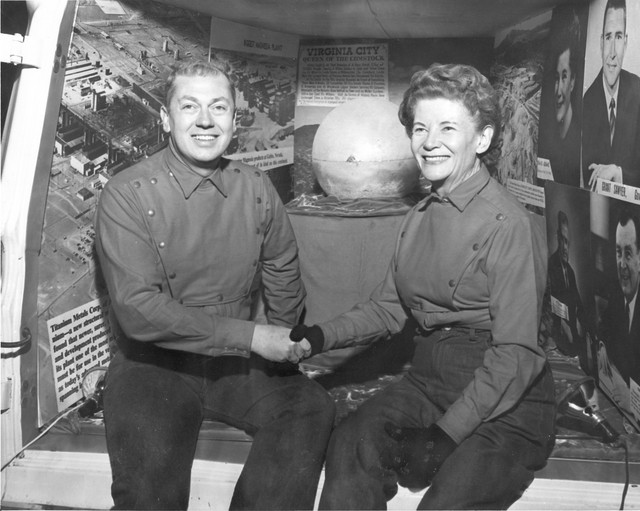 Panamint silver ball with executive administrator Richard Ham and US Mint Director Eva Adams. (Courtesy Nevada State Library and Archives)