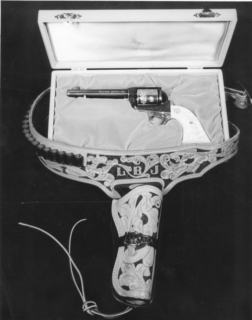 A Colt .45 Centennial Special with holster that was presented to President Lyndon Johnson during Nevada's 100th year in 1964 (Courtesy Nevada State Library and Archives)