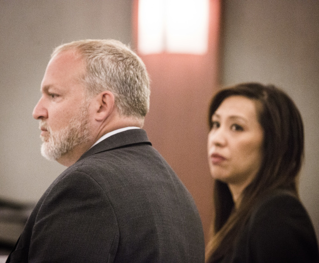 Clark County prosecutors Marc DiGiacomo and Danielle Pieper during a payment for witness's rent hearing in Regional Justice Center on Tuesday, Oct. 28, 2014.  Judge Michael Villani denied defense  ...
