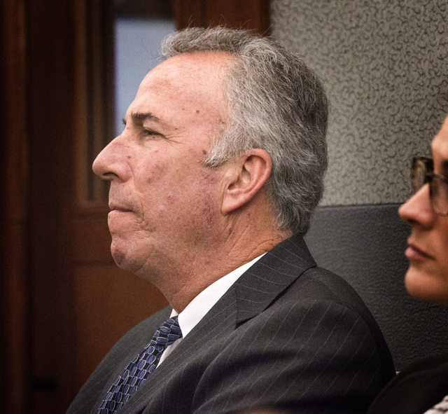 Clark County District Attorney Steve Wolfson listens during a payment for witness's rent hearing in front of District Court Judge Michael Villani at Regional Justice Center  on Tuesday, Oct. 28, 2 ...