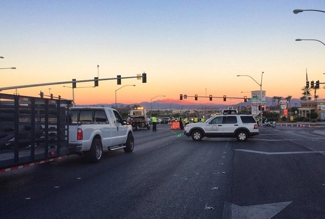 Police work the scene of a motorcycle accident at Craig Road and Revere Street in North Las Vegas on October 3, 2014. (Courtesy, NLVMPD/Facebook)