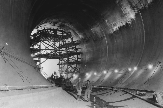 A view of the completed diverson tunnel number 4 October 26, 1932. (File)