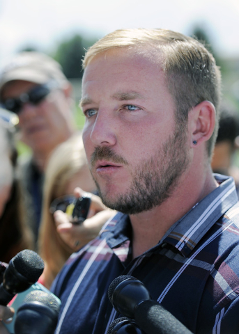 Denver Broncos kicker Matt Prater talks with the media after an NFL football practice in Englewood, Colo., on Monday, Aug. 25, 2014. The Denver Broncos released veteran kicker Matt Prater on Frida ...