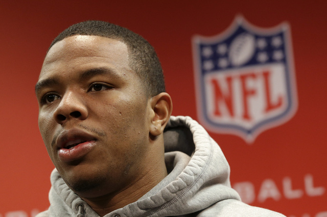 In this Jan. 16, 2013, file photo, Baltimore Ravens running back Ray Rice speaks during a news conference at the team's practice facility in Owings Mills, Md. Rice was let go by the Ravens on Mond ...