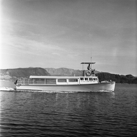 Lake Mead Marina Boat Tours boat going across Lake Mead in a 1966 file photo. The driver is Mr. Padgett. Location is the Lake Mead Marina. (Las Vegas Review-Journal file)