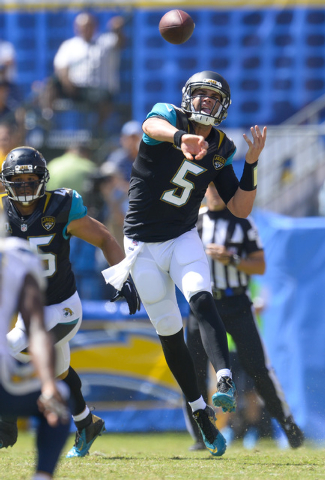 Jacksonville Jaguars quarterback Blake Bortles (5) throws the ball during first quarter action against the San Diego Chargers at Qualcomm Stadium on Sept. 28, 2014. (Robert Hanashiro-USA TODAY Sports)