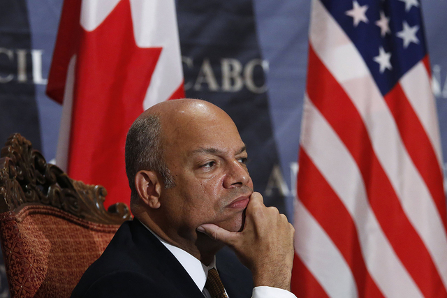 U.S. Homeland Security Secretary Jeh Johnson takes part in a question and answer session during a Canadian-American Business Council luncheon in Ottawa September 30, 2014. Security will be increas ...