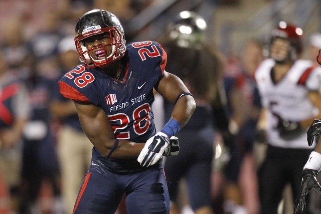 Fresno State Bulldogs strong safety Charles Washington (28) reacts after nearly recording an interception against the San Diego State Aztecs on Oct. 3, 2014 at Bulldog Stadium. The Bulldogs defeat ...