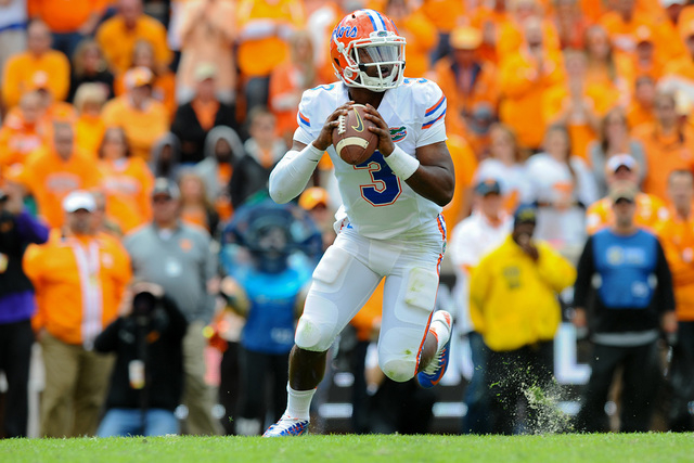 Oct 4, 2014; Knoxville, TN, USA; Florida Gators quarterback Treon Harris (3) prepares to throw the ball during the fourth quarter against the Tennessee Volunteers at Neyland Stadium. The Gators wo ...