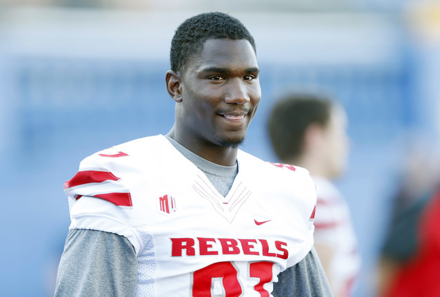 UNLV Rebels wide receiver Devante Davis is expected to miss this weekend's game against Utah State. Davis is shown on the sidelines during first quarter of the game against the San Jose State at S ...