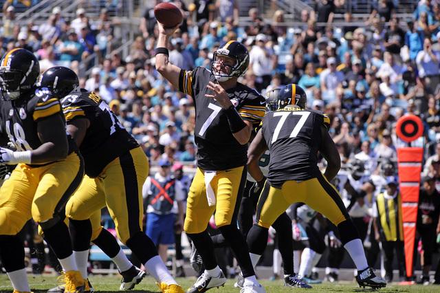 Oct 5, 2014; Jacksonville, FL, USA; Pittsburgh Steelers quarterback Ben Roethlisberger (7) drops back to pass as the Steelers beat the Jacksonville Jaguars 17-9 at EverBank Field. (David Manning-U ...