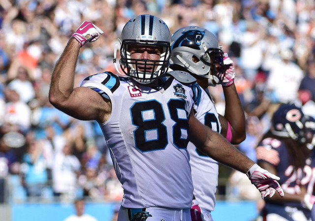 Oct 5, 2014; Charlotte, NC, USA; Carolina Panthers tight end Greg Olsen (88) reacts after catching the winning touchdown in the 4th quarter. The Panthers defeated the Bears 31-24 at Bank of Americ ...