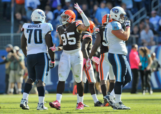 Oct 5, 2014; Nashville, TN, USA; Cleveland Browns defensive end Armonty Bryant (95) raises his hand to the fans after his team defeated the Tennessee Titans 29-28 at LP Field. (Jim Brown-USA TODAY ...