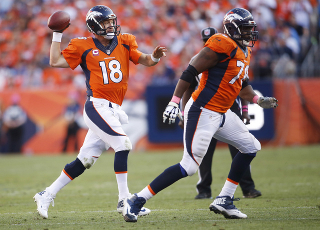 Oct 5, 2014; Denver, CO, USA; Denver Broncos quarterback Peyton Manning (18) throws a pass during the second half against the Arizona Cardinals at Sports Authority Field at Mile High. The Broncos  ...