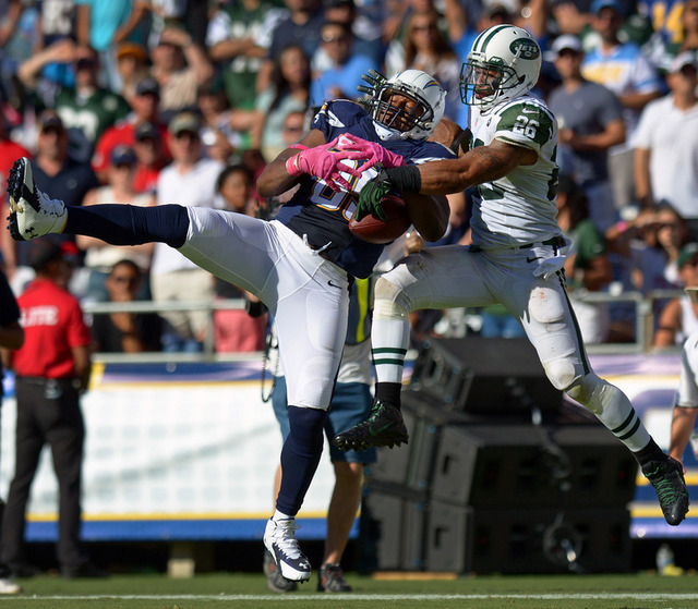 Oct 5, 2014; San Diego, CA, USA; New York Jets strong safety Dawan Landry (26) knocks the ball away from San Diego Chargers tight end Antonio Gates (85) during the third quarter at Qualcomm Stadiu ...