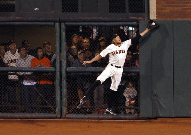 "Hearing Fitz and The Tantrums' ""The Walker"" on YouTube isn't quite as cool as hearing it play in the background as San Francisco right fielder Hunter Pence slams into the fence while catching Jays ..."
