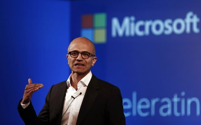 Microsoft Chief Executive Officer Satya Nadella addresses the media in New Delhi, Sept. 30, 2014. Nadella said he was wrong when he suggested Thursday, Oct. 9, 2014, at a women's conference on tec ...