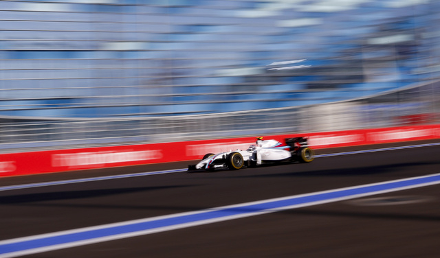 Williams Formula One driver Valtteri Bottas of Finland speeds during the first Russian Grand Prix in Sochi Oct. 12, 2014. (REUTERS/Laszlo Balogh)
