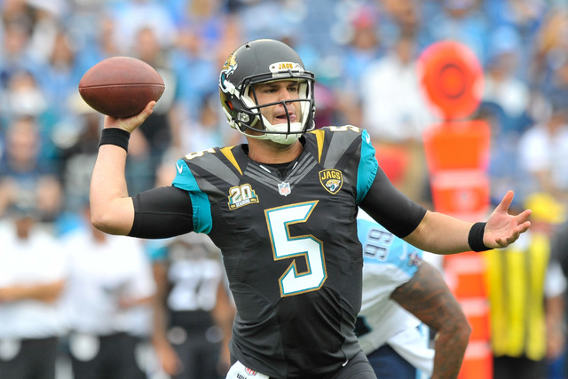 Jacksonville Jaguars quarterback Blake Bortles (5) looks to pass during the first half against the Tennessee Titans at LP Field in Nashville on Oct. 12, 2014. (Jim Brown-USA TODAY Sports)