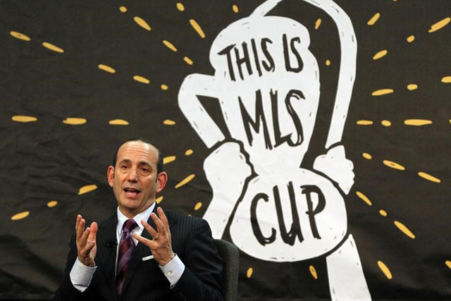 Dec 3, 2013; New York, NY, USA; MLS commissioner Don Garber speaks about the state of the league at Google Offices. (Noah K. Murray-USA TODAY Sports)
