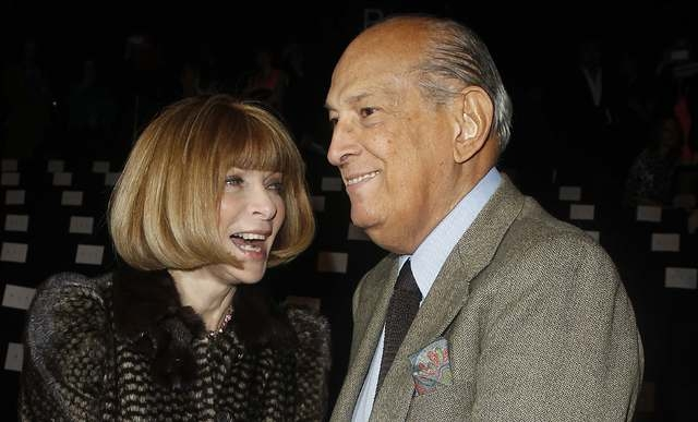 Editor Anna Wintour and designer Oscar de la Renta arrive for the Diane von Furstenberg show during the Fall/Winter 2012 collection shows during New York Fashion Week, Feb. 12, 2012. De la Renta,  ...