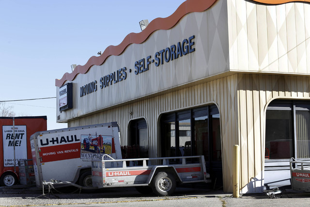 The remains of infants were found in various states of decomposition at this U-Haul store in Winnipeg, Manitoba, Canada, Tuesday, Oct. 21, 2014. The remains of four infants were discovered in a st ...