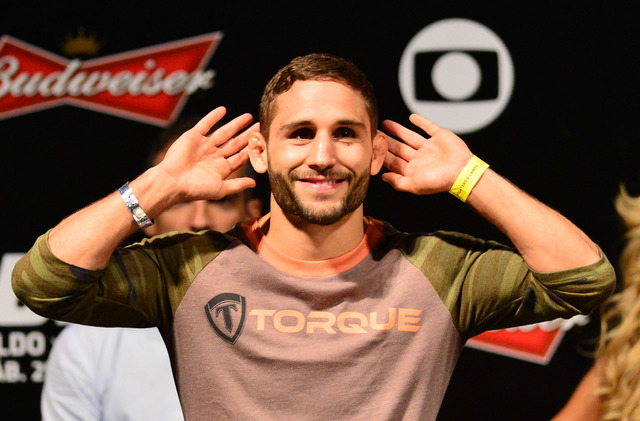 Chad Mendes during weigh-ins for UFC 179 Oct. 24 in Rio de Janeiro. (Jason Silva-USA TODAY Sports)
