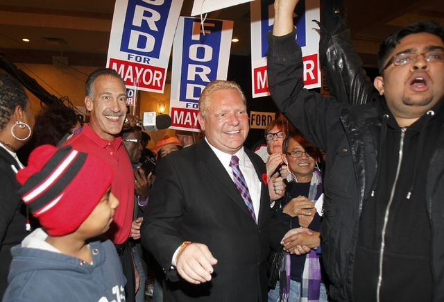 Doug Ford speaks to supporters after failing to be elected as mayor in the municipal election in Toronto, Monday, Oct. 27, 2014. (Reuters/Fred Thornhill)