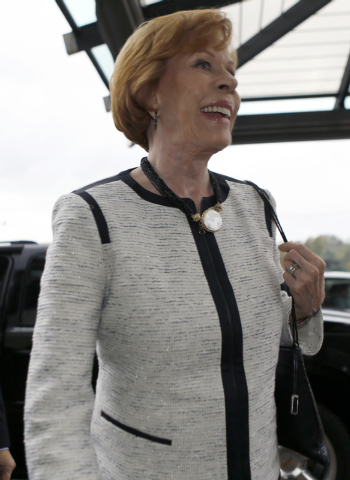 Carol Burnett, arrives at the Chestnut Ridge Resort for a banquet to receive the 2014 Harvey Award presented by the Jimmy Stewart Museum, Friday, Oct. 3, 2014, in Blairsville, Pa. (AP Photo/Keith  ...
