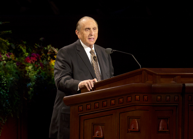 President Thomas S. Monson of The Church of Jesus Christ of Latter-day Saints addresses the audience during opening session of the two-day Mormon church conference Saturday, Oct. 4, 2014, in Salt  ...